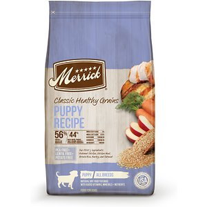 Merrick Classic Healthy Grains Dry Dog Food Puppy Recipe, 12-lb bag; Serve your mate a healthy plate with Merrick Classic Healthy Grains Dry Dog Food Puppy Recipe. This delicious dry food for puppies features real deboned chicken as the very first ingredient. It's combined with essential vitamins and minerals for a complete and balanced diet that includes ancient grains such as quinoa to aid in digestion. This dry dog food is developed with high levels of omega fatty acids to help promote healthy skin and a shiny coat while glucosamine and chondroitin support hip and joint function. It is paw-fect for helping puppies build healthy muscles and does not contain any potatoes, peas or lentils.