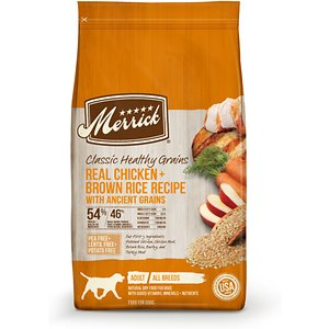 Merrick Classic Healthy Grains Dry Dog Food Real Chicken + Brown Rice Recipe with Ancient Grains, 12-lb bag; Make sure your buddy feels his best before he takes on his next quest with Merrick Classic Healthy Grains Dry Dog Food Real Chicken + Brown Rice Recipe with Ancient Grains. This delicious dry food for dogs features real deboned chicken as the very first ingredient. It's combined with essential vitamins and minerals for a complete and balanced diet that includes brown rice and ancient grains such as quinoa to aid in digestion. This dry dog food is developed with high levels of omega fatty acids to help promote healthy skin and a shiny coat while glucosamine and chondroitin support hip and joint function. It is paw-fect for helping dogs build healthy muscles and does not contain any potatoes, peas or lentils.