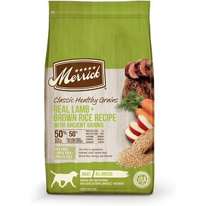 Merrick Classic Healthy Grains Dry Dog Food Real Lamb + Brown Rice Recipe with Ancient Grains, 12-lb bag; Make your mate's next meal the real deal with Merrick Classic Healthy Grains Dry Dog Food Real Lamb + Brown Rice Recipe with Ancient Grains. This delicious dry food for dogs features real deboned lamb as the very first ingredient. It's combined with essential vitamins and minerals for a complete and balanced diet that includes brown rice and ancient grains such as quinoa to aid in digestion. This dry dog food is developed with high levels of omega fatty acids to help promote healthy skin and a shiny coat while glucosamine and chondroitin support hip and joint function. It is paw-fect for helping dogs build healthy muscles and does not contain any potatoes, peas or lentils.