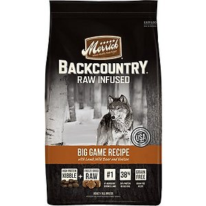 Merrick Backcountry Freeze-Dried Raw Big Game Recipe with Lamb, Wild Boar & Venison Grain-Free Dry Dog Food, 22-lb bag; Feed your furry guy the nourishment he needs with Merrick Backcountry Raw Infused Grain Free Dry Dog Food Big Game Recipe. This freeze-dried dry food for dogs features real deboned beef as the very first ingredient. It's combined with lamb and rabbit in a protein-rich and highly-digestible formula. This grain and gluten-free dry dog food contains freeze-dried raw-coated kibble and freeze-dried raw bites to give your buddy all the benefits of a raw diet. It's developed with high levels of omega fatty acids to help promote healthy skin and a shiny coat while glucosamine and chondroitin support hip and joint function. It's paw-fect for helping all breeds of adult dogs build healthy muscles and maintain a high level of energy throughout the day.