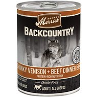 Merrick Backcountry Grain-Free Chunky Venison & Beef Dinner in Gravy Canned Dog Food, 12.7-oz, case of 12