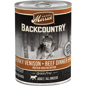 Merrick Backcountry Grain Free Wet Dog Food Chunky Venison & Beef Dinner in Gravy, 12.7-oz can, case of 12; With high-quality protein, Merrick Backcountry Grain Free Wet Dog Food Chunky Venison & Beef Dinner in Gravy delivers the nutrition your best friend needs for more long walks, games of fetch, and hikes in the woods. Tender, chunky, real deboned venison is the first ingredient, while both venison and beef help to build and maintain healthy muscle and energy levels in your furbaby. A savory gravy maximizes the meal's moisture, encouraging your pup to lick his bowl clean. Added vitamins and minerals ensure this food can support your dog's overall health, delivering complete and balanced nutrition. It's grain-free and gluten-free, so it's paw-some for pups with food sensitivities, too.