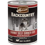 Merrick Backcountry Grain-Free Chunky Beef Dinner in Gravy Canned Dog Food, 12.7-oz, case of 12