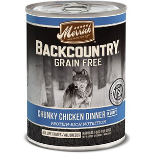 Merrick Backcountry Grain-Free Chunky Chicken Dinner in Gravy Canned Dog Food, 12.7-oz, case of 12; Your carnivorous canine will go wild for Merrick Backcountry Grain-Free Chunky Chicken Dinner in Gravy Canned Dog Food. This sensational stew offers an irresistible taste variety with a blend of premium proteins in a hearty meat gravy along with dried peas and egg product. Feed your best friend an ancestral diet the way nature intended. And because it's grain-free with no gluten ingredients, it's ideal for the pooch with food allergies or dietary sensitivities. Like all Merrick recipes, this food is cooked right here in the USA!