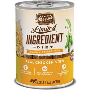 Merrick Limited Ingredient Diet Grain Free Wet Dog Food Real Chicken Stew, 12.7-oz can, case of 12; Help your doggie dude battle sensitivities to food with Merrick Limited Ingredient Diet Grain Free Wet Dog Food Real Chicken Stew. This limited-ingredient wet food for dogs is specially formulated for complete and balanced nutrition for sensitive stomachs. It features real deboned chicken as the very first ingredient and single source of protein. This grain-free wet dog food is developed to deliver important amino acids, vitamins and minerals to your mate and does not contain any grain, gluten, potato, corn, wheat or soy ingredients.  It's paw-fect for all breeds of adult dogs and is packaged in a convenient pull-tab can for quick and easy serving.