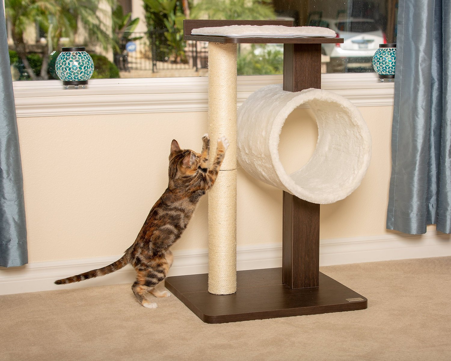 Petfusion Modern Activity Cat Tree Scratching Post Brown Chewy Com