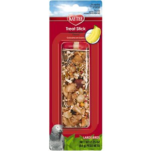 Kaytee Fiesta Banana Split Parrot Treat Stick, 2.25-oz; Add variety and activity to your bird\\\'s diet with Kaytee Fiesta Banana Split Parrot Treat Stick. Birds love variety in their diet and foraging toys provide mental stimulation, relieve stress and prevent boredom and behaviors associated with inactivity. Part treat and part toy, Kaytee Fiesta Banana Split Parrot Treat Stick is coated in honey and sprinkled with delicious toppings including sunflower, safflower, millet and corn. It is shaped into a stick and can be hung in your bird\\\'s cage for a fun and tasty foraging activity.