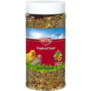 Kaytee Fiesta Tropical Fruit Canary & Finch Bird Treats, 10-oz jar; Treat your Canaries and Finches to a taste of the tropics with Kaytee Fiesta Tropical Fruit Canary & Finch Bird Treats. Birds love variety in their diet and will often sort and even play with food that has different shapes, textures and colors. Kaytee Fiesta Tropical Fruit Canary & Finch Bird Treats contain real tropical fruit like papaya, coconut and pineapple plus seed, corn, apples and more. And they contain sun-cured alfalfa meal, an excellent source of fiber for healthy digestion. Offer as an occasional treat or as a training reward. Just sprinkle it directly over their daily diet or feed in a separate dish.