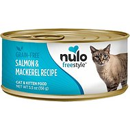 Nulo Freestyle Salmon & Mackerel Recipe Grain-Free Canned Cat & Kitten Food, 5.5-oz, case of 24