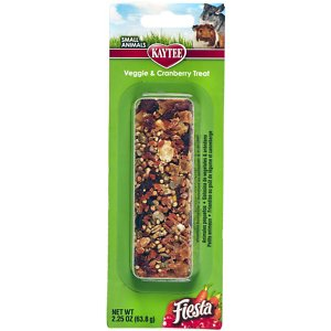 Kaytee Fiesta Veggie & Cranberry Small Animal Treat, 1 count; Looking to add some variety to your pet's diet? Switch up your little furry friend's daily treats with Kaytee Fiesta Treat Sticks. Made from fortified, nutritious ingredients that include veggies and cranberries, these treat sticks are also a great way to introduce additional activity to your pet pal's daily routine and encourage bonding.