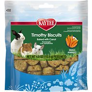 Kaytee Baked Carrot Timothy Biscuit Small Animal Treats, 4-oz bag