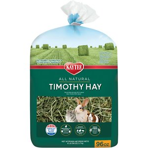 Kaytee Natural Timothy Hay Small Animal Food, 96-oz bag; Keep your furry one naturally healthy with the Kaytee Natural Timothy Hay Small Animal Food. It's harvested from the high elevations of the Columbian River basin, hand selected to endure the proper ratio of leaf to stem, and sheltered before packaging to preserve its color and nutrients. Since it's lower in protein and calcium, it supports urinary tract health, and helps maintain a healthy digestive system with plenty of fiber. It's the perfect complement to a balanced diet and contains no artificial colors or preservatives so you can feel good about feeding daily.