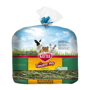 Kaytee Timothy Hay Wafer-Cut Small Animal Food, 16-oz bag; Give your pet timothy hay the same high quality as long strand but with less mess with Kaytee Timothy Hay Wafer-Cut Small Animal Food. Small pets including Guinea Pigs, rabbits and chinchillas need hay to aid in the digestion process, keep their teeth trim and satisfy their need to chew. In fact, hay should make up 75 percent of their daily diet. Kaytee Timothy Hay Wafer-Cut Small Animal Food is natural, chemical free, sun-cured timothy hay that is cut into a unique wafter shape with shorter strands for easier peel off and less mess. Offer several times a day as a treat in addition to their regular hay supply.