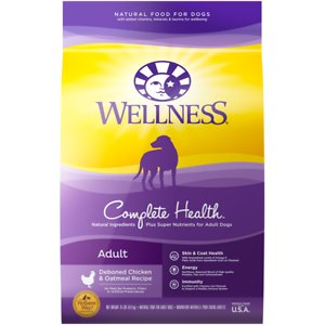 Wellness Complete Health Adult Deboned Chicken & Oatmeal Recipe Dry Dog Food, 5-lb bag; Keep your canine companion coming back for more with Wellness Complete Health Chicken & Oatmeal. This natural dry food for dogs is specially formulated to provide whole-body nutritional support. It is crafted using carefully chosen ingredients that include premium proteins and wholesome grains supported by omega fatty acids, antioxidants, glucosamine, probiotics and taurine. This balanced, healthy dry dog food is designed to encourage a strong immune system, optimize energy levels and ensure a healthy skin and coat while promoting whole body health. It is developed without any GMOs, meat by-products, fillers or artificial preservatives so you can be sure Rover is always getting the right food.