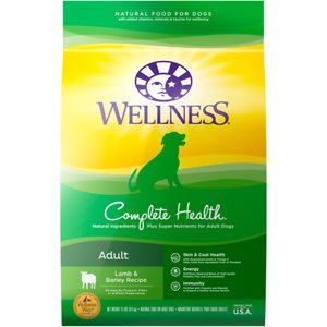 Wellness Complete Health Adult Lamb & Barley Recipe Dry Dog Food, 5-lb bag; Give your good boy a reason to jump for joy with Wellness Complete Health Lamb & Barley. This natural dry food for dogs is specially formulated to provide whole-body nutritional support. It is crafted using carefully chosen ingredients that include premium proteins and wholesome grains supported by omega fatty acids, antioxidants, glucosamine, probiotics and taurine. This balanced, healthy dry dog food is designed to encourage a strong immune system, optimize energy levels and ensure a healthy skin and coat while promoting whole body health. It is developed without any GMOs, meat by-products, fillers or artificial preservatives so you can be sure Rover is always getting the right food.
