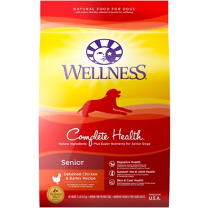 Wellness Complete Health Senior Deboned Chicken & Barley Recipe Dry Dog Food, 5-lb bag; Support your senior sidekick with Wellness Complete Health Chicken & Barley. This natural dry food for older dogs is specially formulated to provide whole-body nutritional support. It is crafted using carefully chosen ingredients that include premium proteins and wholesome grains supported by omega fatty acids, antioxidants, glucosamine, probiotics, taurine and beta carotene. This balanced, healthy dry dog food is designed to encourage healthy brain development, optimize energy levels and ensure a healthy skin and coat while promoting whole body health. It is developed without any GMOs, meat by-products, fillers or artificial preservatives so you can be sure Rover is always getting the right food.