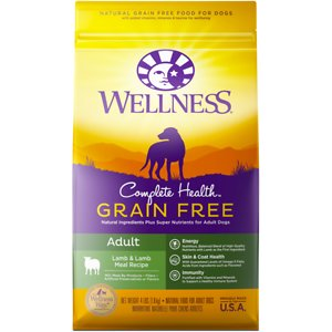 Wellness Grain-Free Complete Health Adult Lamb & Lamb Meal Recipe Dry Dog Food, 24-lb bag; Keep your furry buddy happy and healthy with Wellness Complete Health Lamb. This natural, grain-free dry food for dogs is crafted using carefully chosen ingredients to create complete and balanced nutrition that promotes whole body health. It features premium protein, healthy fats and fiber to support a strong immune system, optimal energy levels and a healthy coat and skin. This dry dog food is fortified with omega fatty acids, antioxidants, glucosamine, probiotics and taurine. It does not contain any GMOs, meat by-products, fillers or artificial preservatives.