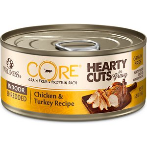 Wellness CORE Grain-Free Hearty Cuts in Gravy Indoor Shredded Chicken & Turkey Recipe Canned Cat Food, 5.5-oz, case of 24; Nourish your kitty's primal essence with the protein-rich nutrition of Wellness CORE Grain-Free Hearty Cuts in Gravy Indoor Shredded Chicken & Turkey Recipe Canned Cat Food. With chicken and turkey as the top ingredients, this nutrient-dense, grain-free recipe contains all the protein your pal needs to support his strong muscles and energy to fuel all his adventures. Every bite is packed with omegas from flaxseeds and salmon oil to maintain a healthy skin and coat, plus antioxidants, taurine, vitamins and minerals to support immunity and well-being. Serve up a bowl and feel good about providing your pal with everything he needs to thrive from the core, and nothing you wouldn't want him to eat, like wheat, fillers, or anything artificial.
