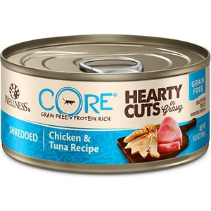 Wellness CORE Grain-Free Hearty Cuts in Gravy Shredded Chicken & Tuna Recipe Canned Cat Food, 5.5-oz, case of 24; Nourish your kitty's primal essence with the protein-rich nutrition of Wellness CORE Grain-Free Hearty Cuts in Gravy Shredded Chicken & Tuna Recipe Canned Cat Food. With chicken and tuna as the top ingredients, this nutrient-dense, grain-free recipe contains all the protein your pal needs to support his strong muscles and energy to fuel all his adventures. Every bite is packed with omegas from flaxseeds and salmon oil to maintain a healthy skin and coat, plus antioxidants, taurine, vitamins and minerals to support immunity and well-being. Serve up a bowl and feel good about providing your pal with everything he needs to thrive from the core, and nothing you wouldn't want him to eat, like wheat, fillers, or anything artificial.