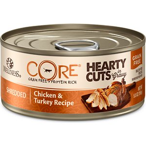 Wellness CORE Grain-Free Hearty Cuts in Gravy Shredded Chicken & Turkey Recipe Canned Cat Food, 5.5-oz, case of 24; Nourish your kitty's primal essence with the protein-rich nutrition of Wellness CORE Grain-Free Hearty Cuts in Gravy Shredded Chicken & Turkey Recipe Canned Cat Food. With chicken and turkey as the top ingredients, this nutrient-dense, grain-free recipe contains all the protein your pal needs to support his strong muscles and energy to fuel all his adventures. Every bite is packed with omegas from flaxseeds and salmon oil to maintain a healthy skin and coat, plus antioxidants, taurine, vitamins and minerals to support immunity and well-being. Serve up a bowl and feel good about providing your pal with everything he needs to thrive from the core, and nothing you wouldn't want him to eat, like wheat, fillers, or anything artificial.