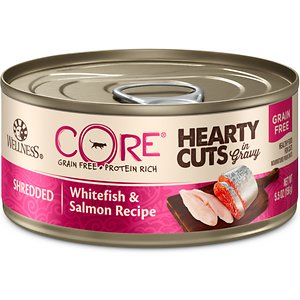 Wellness CORE Grain-Free Hearty Cuts in Gravy Shredded Whitefish & Salmon Recipe Canned Cat Food, 5.5-oz, case of 24; Nourish your kitty's primal essence with the protein-rich nutrition of Wellness CORE Grain-Free Hearty Cuts in Gravy Shredded Whitefish & Salmon Recipe Canned Cat Food. With whitefish as the first ingredient, this nutrient-dense, grain-free recipe contains all the protein your pal needs to support his strong muscles and energy to fuel all his adventures. Every bite is packed with omegas from flaxseeds and salmon oil to maintain a healthy skin and coat, plus antioxidants, taurine, vitamins and minerals to support immunity and well-being. Serve up a bowl and feel good about providing your pal with everything he needs to thrive from the core, and nothing you wouldn't want him to eat, like wheat, fillers, or anything artificial.