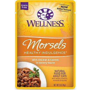 Wellness Healthy Indulgence Morsels with Chicken & Salmon in Savory Sauce Grain-Free Wet Cat Food Pouches, 3-oz, case of 24; Indulge your kitty's appetite and well-being with the Wellness Healthy Indulgence Morsels with Chicken & Salmon in Savory Sauce Grain-Free Wet Cat Food Pouches. It's made with tender bits of chicken and salmon as the top ingredients so it packs plenty of protein to support strong muscles for all those adventures, while the delicious sauce will keep him running to his bowl. And every bite is loaded with antioxidants from fruits like cranberries and blueberries, wholesome veggies, and taurine for healthy eyes and heart. Plus, there's zero grains, wheat, gluten, corn, soy or anything artificial. So just tear and pour for a complete meal, and make dinner time purr-fectly indulgent.