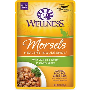 Wellness Healthy Indulgence Morsels with Chicken & Turkey in Savory Sauce Grain-Free Wet Cat Food Pouches, 3-oz, case of 24; Indulge your kitty's appetite and well-being with the Wellness Healthy Indulgence Morsels with Chicken & Turkey in Savory Sauce Grain-Free Wet Cat Food Pouches. It's made with tender bits of chicken and turkey as the top ingredients so it packs plenty of protein to support strong muscles for all those adventures, while the delicious sauce will keep him running to his bowl. And every bite is loaded with antioxidants from fruits like cranberries and blueberries, wholesome veggies, and taurine for healthy eyes and heart. Plus, there's zero grains, wheat, gluten, corn, soy or anything artificial. So just tear and pour for a complete meal, and make dinner time purr-fectly indulgent.