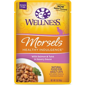 Wellness Healthy Indulgence Morsels with Salmon & Tuna in Savory Sauce Grain-Free Wet Cat Food Pouches, 3-oz, case of 24; Indulge your kitty's appetite and well-being with the Wellness Healthy Indulgence Morsels with Salmon & Tuna in Savory Sauce Grain-Free Wet Cat Food Pouches. It's made with tender bits of salmon and tuna as the top ingredients so it packs plenty of protein to support strong muscles for all those adventures, while the delicious sauce will keep him running to his bowl. And every bite is loaded with antioxidants from fruits like cranberries and blueberries, wholesome veggies, and taurine for healthy eyes and heart. Plus, there's zero grains, wheat, gluten, corn, soy or anything artificial. So just tear and pour for a complete meal, and make dinner time purr-fectly indulgent.