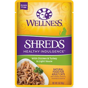 Wellness Healthy Indulgence Shreds with Chicken & Turkey in Light Sauce Grain-Free Wet Cat Food Pouches, 3-oz, case of 24; Indulge your kitty's appetite and well-being with the Wellness Healthy Indulgence Shreds with Chicken & Turkey in Light Sauce Grain-Free Wet Cat Food Pouches. It's made with tender shreds of chicken and turkey as the top ingredients so it packs plenty of protein to support strong muscles for all those adventures, while the delicious sauce will keep him running to his bowl. And every bite is loaded with antioxidants from fruits like cranberries and blueberries, wholesome veggies, and taurine for healthy eyes and heart. Plus, there's zero grains, wheat, gluten, corn, soy or anything artificial. So just tear and pour for a complete meal, and make dinner time purr-fectly indulgent.