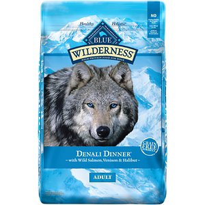 Blue Buffalo Wilderness Denali Dinner with Wild Salmon, Venison & Halibut Grain-Free Dry Dog Food, 22-lb bag; Feed your furry friend a recipe inspired by the Alaskan wilderness with Blue Buffalo Wilderness Denali Dinner and Wild Salmon, Venison & Halibut Grain-Free Dry Dog Food! A unique protein-rich blend of wild salmon, venison and halibut will have your dog's inner wolf howling for the tantalizing tastes of the Alaskan frontier. Not only does this recipe support your dog's energy needs for an active life with high-quality protein, but it also features vitamins, minerals and other nutrients, plus antioxidant rich LifeSource Bits!