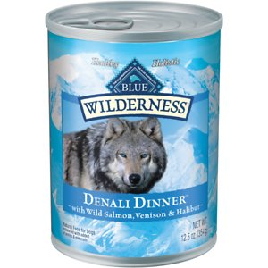 Blue Buffalo Wilderness Denali Dinner with Wild Salmon, Venison & Halibut Grain-Free Canned Dog Food, 12.5-oz, case of 12; Take your amigo on an Alaskan adventure with Blue Buffalo Wilderness Denali Dinner High Protein Grain Free, Natural Wet Dog Food. Paw-fect for your doggie dude, this irresistibly tasty wet food is made using only the finest naturally grain and gluten-free ingredients. It starts with high-quality protein from an exotic blend of wild salmon, venison and halibut, packed with fruits and veggies, then enhanced with vitamins and minerals. Formulated to promote an active lifestyle and healthy muscle growth, this high-protein dog food is made with wholesome ingredients that do not contain any grain, gluten, by-product meals, corn, wheat, soy, artificial flavors or preservatives.