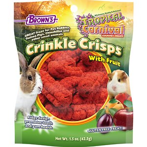 Brown\\\'s Tropical Carnival Crinkle Crisps with Fruit Small Animal Treats, 1.5-oz bag; Brown\\\'s Tropical Carnival Crinkle Crisps with Carrot Small Animal Treats aren\\\'t just fun for your small pet animal to eat, but they also help keep their teeth and gums healthy. Small animals need to wear down their ever-growing teeth by gnawing and grinding. Brown\\\'s Tropical Carnival Crinkle Crisps provide a tasty way to do just that with a dental treat with a porous texture and special ridges that encourage this natural chewing action. These gluten-free snacks appeal to all types of small pets with a recipe that calls for real fruits like peaches, apples, plums and apricots.