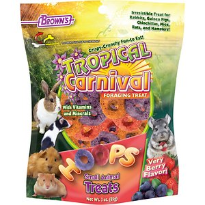 Brown\\\'s Tropical Carnival Hoops Strawberry Flavor Small Animal Treats, 3-oz bag; Brown\\\'s Tropical Carnival Hoops Strawberry Flavor Small Animal Treats make great foraging and interactive treats for rabbits, guinea pigs, chinchillas, mice, rats and hamsters. These colorful hoops are fun to crunch and easy for little paws to hold as they nibble on the delicious natural flavors of honey and strawberry. Added DHA omega fatty acids and probiotics help keep coats shiny and ease the digestive tract as your pet enjoys a tasty treat.