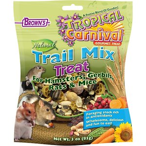 Brown\\\'s Tropical Carnival Trail Mix Small Animal Treats, 3-oz bag; Brown\\\'s Tropical Carnival Trail Mix Small Animal Treats is the ultimate forager\\\'s delight for hamsters, gerbils, rats and mice. A wholesome blend of natural ingredients entices small scavengers with the flavors of sweet potatoes, carrots, cranberries, blueberries, peanuts, raisins and tons of nutritious and tasty seeds. This nutritious mix makes snack time exciting with a variety of textures and flavors your pet can\\\'t resist.