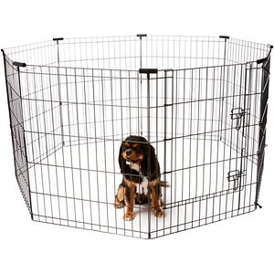 Frisco Wire Dog Exercise Pen with Step-Through Door, Black, 30-in; Frisco Black Exercise Pen with Step-Through Door provides a safe and secure play area for your pet, whether indoors or outside. Constructed using sturdy metal wire coated in durable black e-coating, it's made to last. The easy-access doorway securely latches closed with double locks and an additional safety clip. Metal anchors are included to keep the pen in place when used outdoors. The eight hinged panels can be configured into square, rectangle and octagon shapes, with plastic corner stabilizers included for the octagon configuration. And it conveniently folds flat for easy transport and storage.