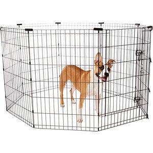 Frisco Wire Dog Exercise Pen with Step-Through Door, Black, 36-in; Frisco Black Exercise Pen with Step-Through Door provides a safe and secure play area for your pet, whether indoors or outside. Constructed using sturdy metal wire coated in durable black e-coating, it's made to last. The easy-access doorway securely latches closed with double locks and an additional safety clip. Metal anchors are included to keep the pen in place when used outdoors. The eight hinged panels can be configured into square, rectangle and octagon shapes, with plastic corner stabilizers included for the octagon configuration. And it conveniently folds flat for easy transport and storage.