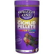 Omega One Large Cichlid Pellets Floating Fish Food, 6-oz jar