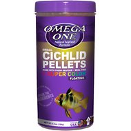 Omega One Small Cichlid Pellets Floating Fish Food, 6.5-oz jar