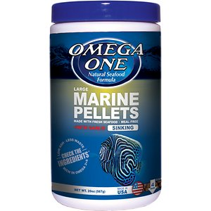 Omega One Large Marine Pellets with Garlic Fish Food, 20-oz jar; An extremely palatable mix of seafood ingredients is combined with garlic and spirulina to make the very popular Omega One Large Marine Pellets with Garlic Fish Food. Rich in omega-3 fatty acids, these pellets represent the absolute best in marine nutrition.