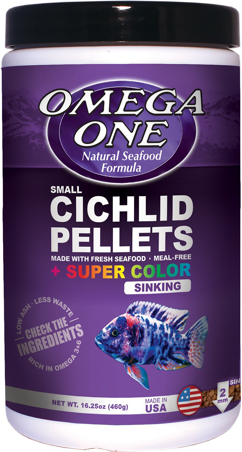 Omega one super color small cichlid pellets sinking fish for Fish food pellets