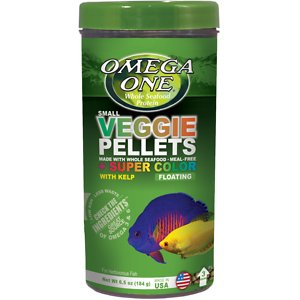 Omega One Super Veggie Kelp Pellets Floating Algae Grazers Fish Food, 6.5-oz jar; To make their Super Veggie Kelp Pellets Floating Algae Grazers Fish Food, Omega One starts by harvesting fresh ocean kelp by hand from the Gulf of Alaska. Then they combine this mineral-rich ingredient with an incredibly nutritious mix of fresh seafoods, resulting in a veggie pellet like no other.