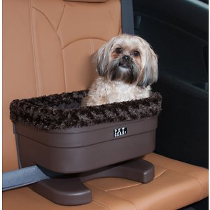 Pet Gear Dog & Cat Bucket Seat Booster, Chocolate, 17-in; Everyone needs to buckle up in the car for safety, and now your best friend can too with the Pet Gear Bucket Seat Booster. This booster seat is specially designed for car rides and is perfect for cats and dogs. Now your pal can enjoy a great view outside the car without needing to hang out of the window or sit in your lap! Since the booster is strapped into place with your vehicle's lap belt or shoulder belt you don't need to worry about his safety, plus the included tether connects to his harness for even more protection. When he's done scoping out the sights from his elevated viewpoint, the plush pillow surface provides a perfect napping spot until you reach your destination.