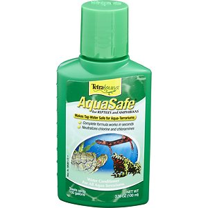 Tetrafauna AquaSafe Reptile Water Conditioner, 3.38-oz bottle; Make tap water safe for reptiles and amphibians with Tetrafauna AquaSafe Reptile Water Conditioner. Tap water contains chlorine, chloramine and heavy metals like copper, iron and zinc which can be harmful to your pet. Tetrafauna AquaSafe Reptile Water Conditioner works in seconds to neutralize these toxins, making the water safe for living conditions. It also contains unique colloids to help protect your pet\\\'s skin and is safe to use with frogs, newts, salamanders, aquatic turtles, snakes, lizards and ornamental fish.
