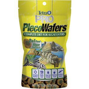 Tetra PRO PlecoWafers Complete Diet for Algae Eaters Fish Food, 5.29-oz bag; Give your plecostomus and other bottom-feeding fish the nutritionally balanced diet they deserve with Tetra PRO PlecoWafers fish food. Tetra\\\'s patented extrusion technology combines necessary nutrients and concentrated algae into one sinking wafer for easy, high-quality feeding. Each crispy wafer is naturally high in fiber and formulated so it doesn\\\'t cloud your tank water. Explore veggie variety while providing your fish with the optimal health blend he needs for a healthy immune system. Meanwhile, biotin and omega-3 fatty acids help maintain that healthy metabolism and energy. So your fish can just keep swimming—and live the good life!