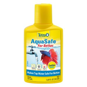 Tetra AquaSafe Aquarium Water Conditioner, 1.69-oz bottle; Make your Betta\\\'s aquarium water safe and healthy with Tetra BettaSafe Aquarium Water Conditioner. Tap water contains chlorine, chloramines and heavy metals which are harmful to Bettas and other fish. Tetra BettaSafe Aquarium Water Conditioner neutralizes these toxins in seconds so you can add your Betta to his aquarium. It also contains a protective slime coating to reduce stress.