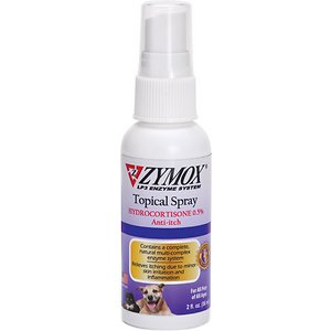 Zymox Enzymatic Topical Spray with Hydrocortisone 0.5% for Dogs & Cats, 2-oz bottle; The most common skin condition both dogs and cats can be afflicted with are hot spots. They are characterized by itchy, raw, sometimes bloody patches of skin. This Zymox Enzymatic Topical Spray with Hydrocortisone helps manage hot spots and is also ideal for wound care and other common skin infections.