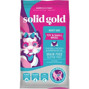 Solid Gold Mighty Mini Gut Health Small & Toy Breed Puppy Grain-Free Chicken, Chickpea & Pumpkin Dry Dog Food, 11-lb bag