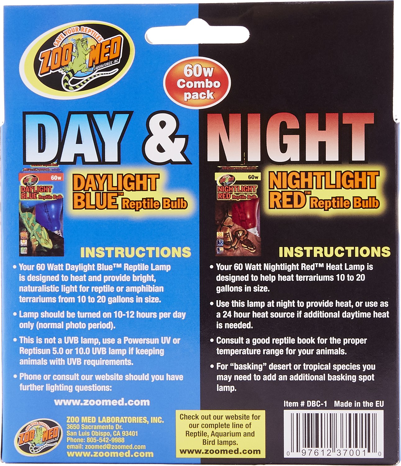 Zoo Med Daylight Blue Amp Nightlight Red Reptile Lamp Combo