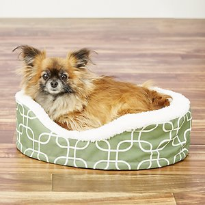 MidWest QuietTime Defender Orthopedic Bolster Cat & Dog Bed w/ Removable Cover, Green, 20-in; Spoil your best friend with the plush MidWest QuietTime Defender Teflon Geometric Orthopedic Nesting Pet Bed. Combining comfort, style and functionality, the soft bed creates and supportive and luxurious place for your pal to rest in. Its intricate, orthopedic egg-crate base is made from a super-soft fleece removable liner and a thick foam high-wall bolster to provide support to your dog\\\'s weary joints and muscles. This nesting mat is a great choice for aging and/or injured dogs, cats or other pets that may be recovering from surgery. The Teflon fabric protector is water-, stain- and dirt-repellent for a durable, long-lasting bed. You can also spot treat for small accidents or remove the zippered cover and machine-wash and tumble-dry on low. Best of all, the bed has a non-slip grip on the bottom making it ideal for hardwood or tile floors.
