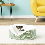 MidWest QuietTime Defender Teflon Geometric Orthopedic Nesting Pet Bed, Green, 25-in